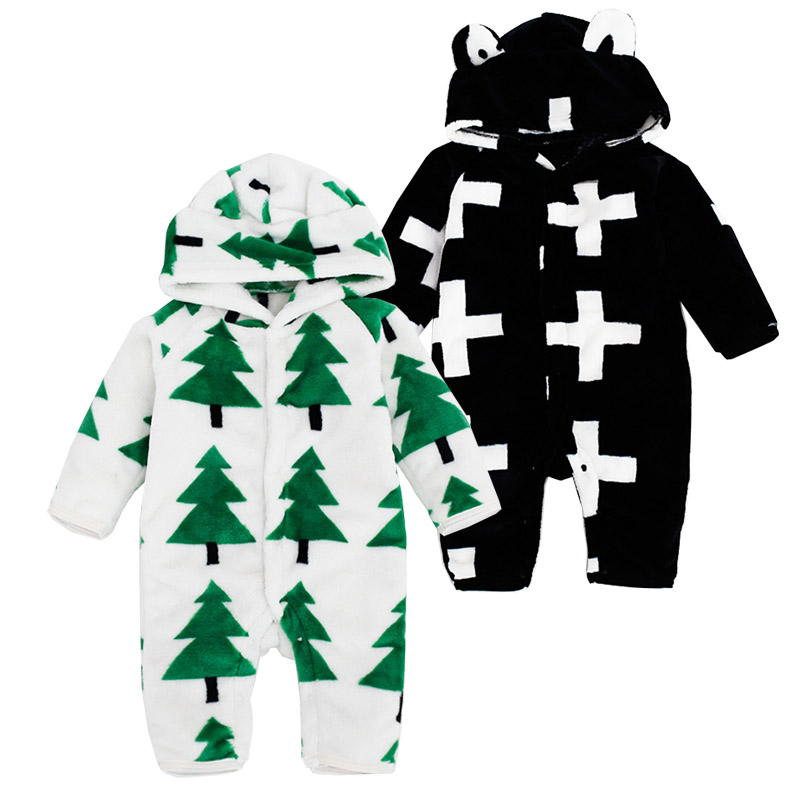 Infant Winter Clothing Hooded Rompers Cute Winter Warm Long Sleeve Coral Fleece Infant Baby Boy Girl Plush Jumpsuit Warm Costume<br><br>Aliexpress