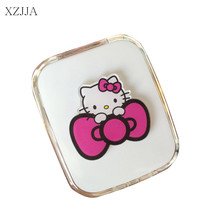 XZJJA 2017 Women Contact Lenses Storage Box Cartoon KT Cat Contact lens Box Eyes Care Kit Holder Travel Washer Cleaner Container(China)