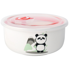 Cartoon cute ceramic bowl tableware noodles bowls with cover(China)