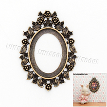 Odoria 1:12 Miniature Vintage Gold Oval Picture Frame House Decor Dollhouse Furniture Accessories(China)
