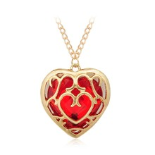 New Fashion Ocean The Legend Of Zelda Blue Red Heart Container Necklace Hollow Out Pendant Necklace Keychain Women