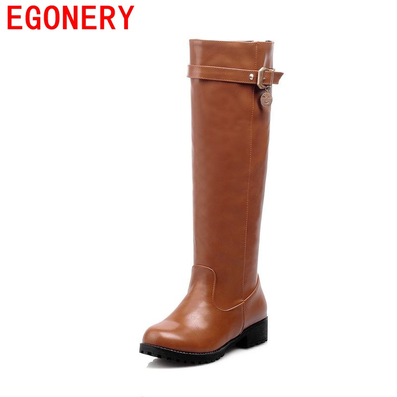 EGONERY knee-high boots for women short plush PU big size buckle riding equestrian round toe thick low heels solid winter boots<br>