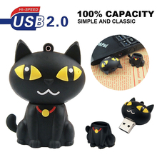 Plastic Cartoon black cat pen drive cartoon 4gb 8gb 16gb 32gb 64gb bulk usb flash drive flash memory stick pendrive mini U Disk(China)