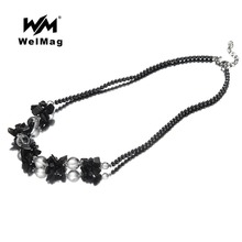 WelMag 2017 Fashion Healthy Hematite Necklace Trendy Bohemia Black Round Beads Necklace Hematite Pendant Jewelry
