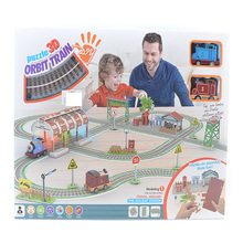 New wholesale 3d foam paper puzzle orbit train puzzle educational kids child gift(China)