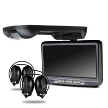 9 Inch Black Color (Grey & Beige Optional) Flip Down Car DVD Car Roof Monitor Roof Mounted Car DVD with 2 IR Headphones