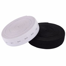 5 meters White and Black Sewing Knit Buttonhole Flat Elastic Bands 15mm SJD07(China)