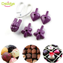 Delidge 1 set Heart Flower Star Shaped Cake Mold Clip Cookie Cutter Lollipop Chocolate Tongs DIY Wedding Baking Cooking Tools