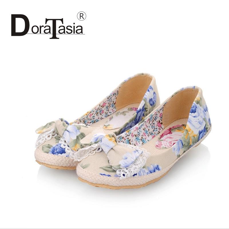 Wholesale Flower Print Canvas Flats Fashion Sweet Bow Shoes For Women Casual Dress Spring Summer Flats Shoes Woman<br><br>Aliexpress