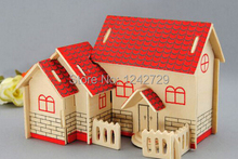 Home Decoration DIY Wood house 3D  Large Puzzle Hand Music Box Wooden Building mode Crafts Ornaments Kid girl baby birthday gift