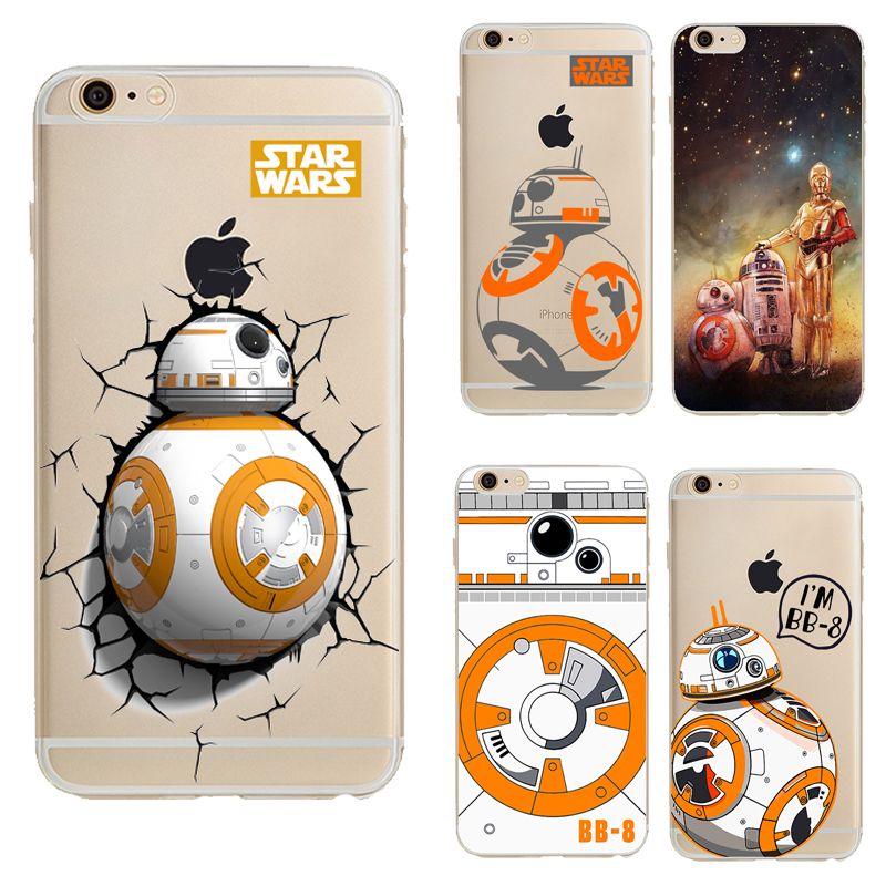 TPU Capa For Apple Iphone 6s Case Star Wars The Force Awakens BB-8 Droid Robot Transparent Phone Case For Iphone 6 Back Cover(China)