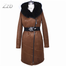 Factory direct supplier Zippers Flocking thick cold Real mink collar large size women's winter fashion fur coat artificial suede