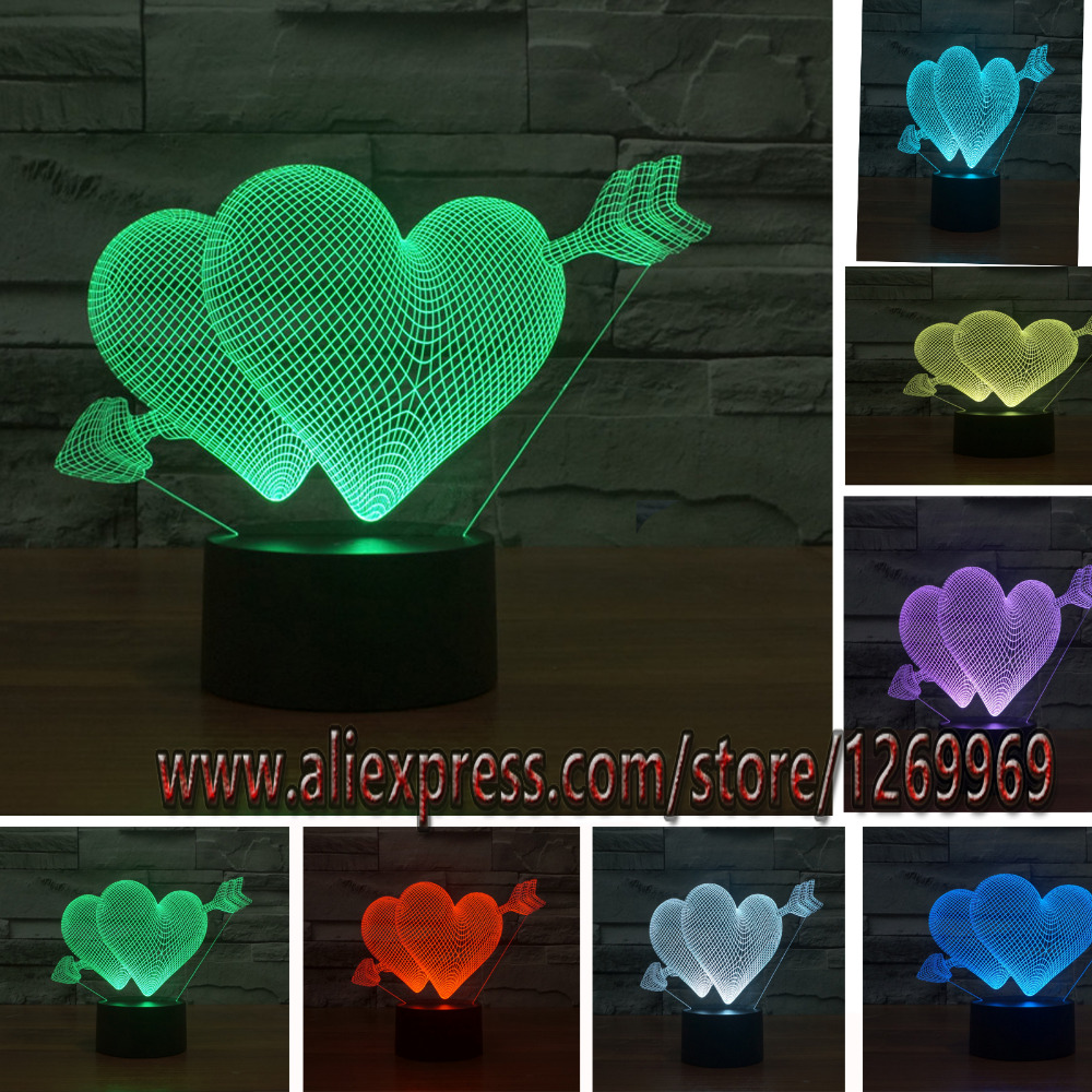 2017 Romantic Love Cupid Arrow Through Double Heart 3D LED USB Lamp Sweetheart Lovers Wedding Decoration Colorful Night Light(China)