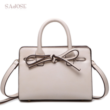 Women Leather Handbag Small White Totes Bag Female Simple Fashion Bowknot Designer Women's Shoulder Messenger Bags Drop Shipping(China)