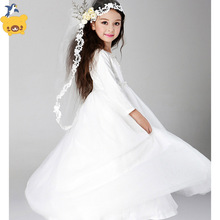 2017 new arrival Girls  long sleeveless  Princess Party Dress bow  children clothing girls long white Lace  wedding dress