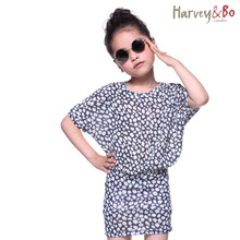 Harvey&Bo new summer fashion kids girls korean linen dresses children clothes batwing sleeve dress slim waist dresses(China)