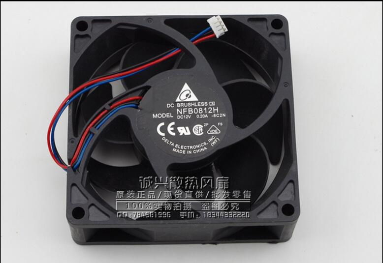 Free Shipping For DELTA  NFB0812H, -8C2N DC 12V 0.20A 3-wire 4-Pin connector 80mm 80x80x25mm Server Square Cooling fan<br>