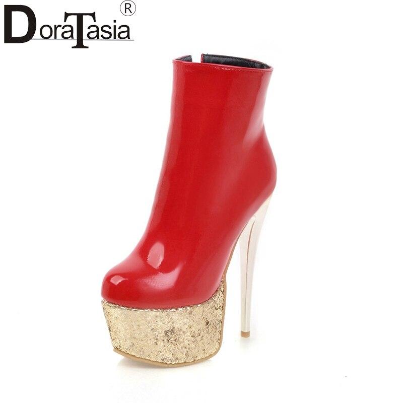 DoraTasia new arrivals Plus Size 33-48 platform super thin high heel ankle boots women sexy winter short plush women shoes woman<br>