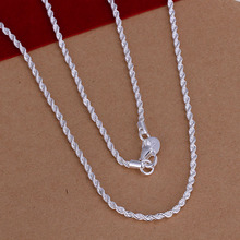 Free Shipping 2015 Lovely  silver plated necklace 2MM 16-24inch Twisted Rope collares mujer jewellery SMTN226
