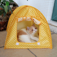 Lovely Dot Pets Cat Tent Houses All Season Dot Pet Beds Folding Outdoor Camping Travel Waterproof Home Cat Dog Kennel Cage(China)