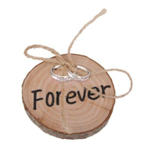 Natural wooden Cute Valentines Engagement Original Ecology Bark Wooden Ring Pillow Wedding Decorative Ornaments(China)
