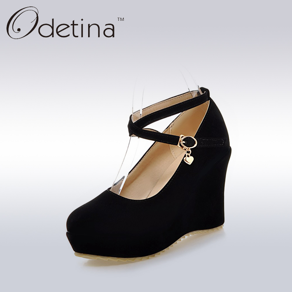 Odetina 2017 Ladies Extreme High Heels Mary Jane Pumps Summer Women Ankle Straps Platform Wedges Shoes Sweet Female Dress Shoes<br>