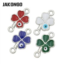 JAKONGO Antique Silver Plated Enamel Clover Lucky Connectors for Jewelry Making Bracelet Findings Accessories DIY Craft 20x11mm