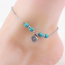 New design Boho Beads Chain Anklet Silver Plated Ankle Bracelet Foot Jewelry for women