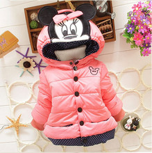 New Girls Jackets Baby girls Fashion Minnie Mickey Cartoon Children Clothing Coat Baby Kids Winter Warm Outerwear Hooded Jackets(China)