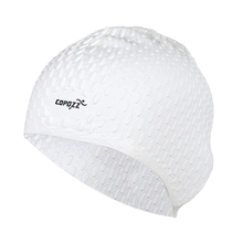 COPOZZ Silicon Swimming Hat Cover Protect Ear Long Hair Waterdrop Swimming Caps(White)