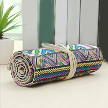 National Canvas School Pencil Case 36 Slots Roll Up Pencil Bag Portable Pencil Organizer Box for Sketch Pencil School Supplies
