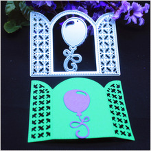 2pcs/Set Grid Window Balloon Gate Metal Cutting Die Stencil for DIY Scrapbook Card Album Paper Craft Decoration Embossing Cutter