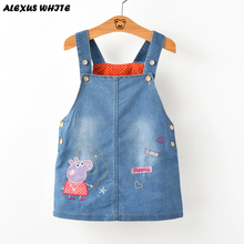 2017 Summer Style Denim Sundress For Girls Cowboy Dress Kids Clothes Brands autumn princess  Cartoon Pig Overalls Jeans Dress