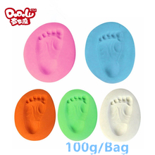 DoDoLu 100g/bag Baby Care Air Drying Clay Baby Handprint Footprint Imprint Kit Casting Parent-child Hand Inkpad Surper Clay Toys(China)