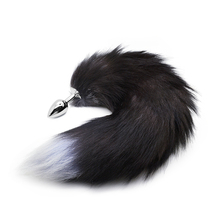 RomeoNight Enchanting Naughty Black Fox Tail Soft Artificial Wool Metal Anal Sex Toys for Couple Flirting, Adult Butt Plug