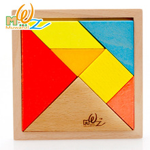 MWZ Wooden Jigsaw Puzzle Toys Developmental Toy Large Wooden Tangram Brain Teaser Puzzles For Children Gifts(China)