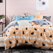 Briefly Cartoon Animal Bedclothes Lovely Rabbit Comforter Duvet Cover 100% Cotton 4PCS Plant Home Hospital Bedding Sets For Kids(China)