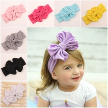 9pcs Summer Style Girl Cotton HeadWrap Floppy Big Bow Stretch Turban Headband Top Knot Headband For Kids Hair Accessories H160