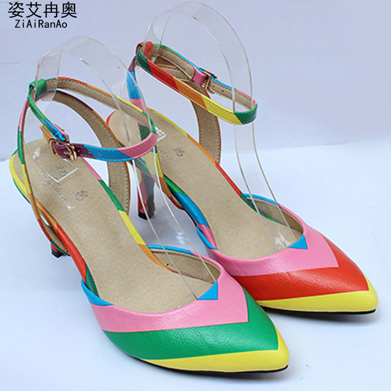 Summer Style Women Shoes Sexy Rainbow Shoes Woman Pointed Toe Sandals Party Women Pumps Big Size 34-41 Hollow 7.5 CM High Heels<br><br>Aliexpress