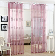 Korean Joyous wedding room  tulle curtains for living room,voile blind embroidered sheer window screening garden curtain