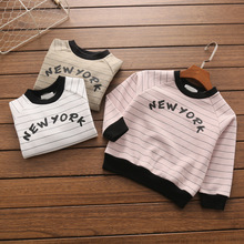 baby t-shirt cotton terry spring kids stripe letter printing children's clothing factory wholesale