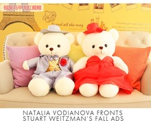 a pair of cute plush silver and red teddy bear toys lovely wedding bear toys gift about 40cm(China)