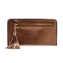 THINKTHENDO Fashion Women Purse Wallet Long Faux Leather Card Holder Soft Zip Solid Mobile Tassel Handbag Coin Bag Brand New(China)