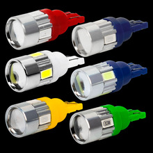 4PCS T10 Super Bright 6 SMD 5630 LED Projector Lens Auto Wedge Lamp WY5W 192 W5W 6SMD 5730 LED Car Marker Light Parking Bulb 12V