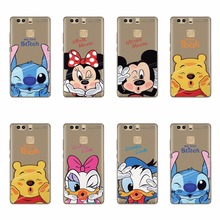 Cute Cartoon Design TPU Silicon Soft Phone Cover Case For Huawei P7 P8 P9 Lite Plus G9 Lite Fundas Transparent Skin Covers Coque