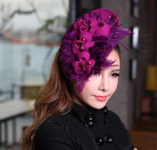 Free Shipping Women Fascinator Hat Hair Accessories Wool Felt Feather Hat Bridal Accessories Flower Headband For Girls Purple