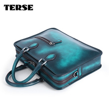 TERSE_Christmas gift mens tote bag handmade genuine leather briefcase business document handbag blue green custom service 472-7(China)