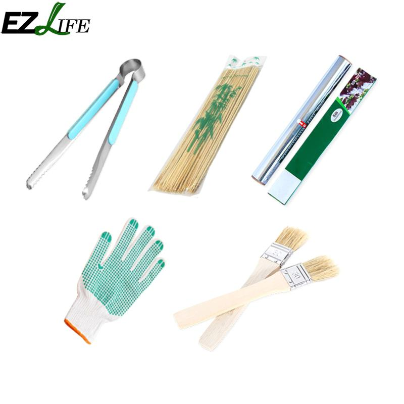 Ezlife 5pcs Barbecue Tools Set Outdoor Supplies Cooking Tool Bbq Sticks Brush Gloves Clip Tin Foil Sets Ljw5484 In From Home