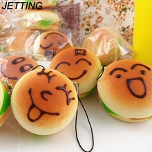 JETTING 1PCS 11cm Mini Expession Bread Squishy Key Chains Kawaii Smile Buns Cell Phone Straps(China)