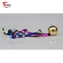 TTYGJ Ribbon Golf Balls Game Training Opening Ceremony Ball Gold Plated Golf Ball Gift Ball